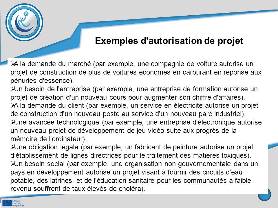 Exemples d autorisation de projet
