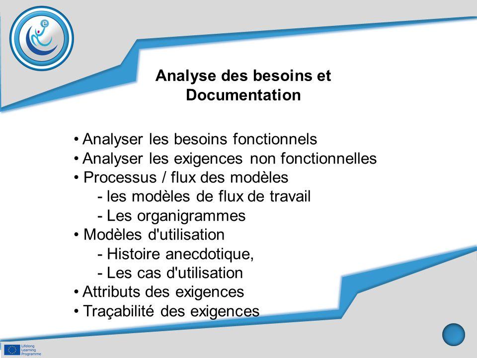 Analyse des besoins et Documentation. • Analyser les besoins fonctionnels. • Analyser les exigences non fonctionnelles.