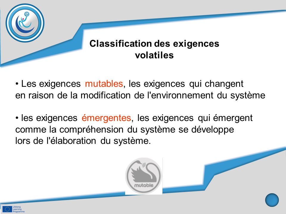 Classification des exigences volatiles