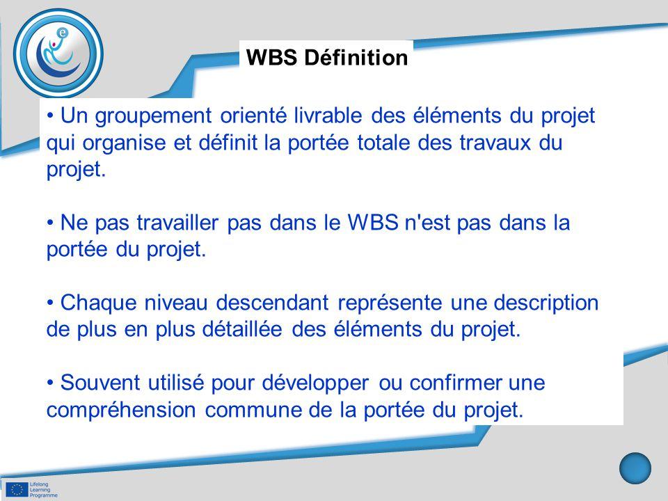 WBS Définition • Un groupement orienté livrable des éléments du projet qui organise et définit la portée totale des travaux du projet.