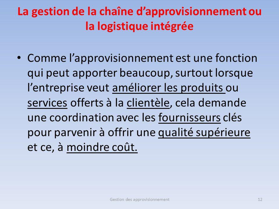 La gestion de la chaîne d'approvisionnement ou la logistique intégrée