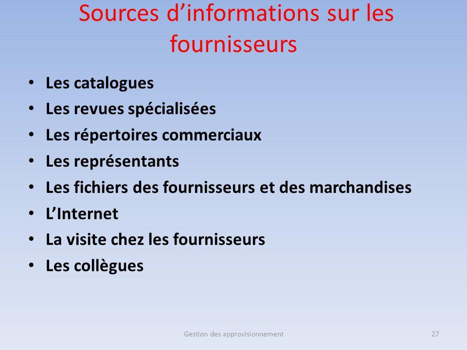 Sources d'informations sur les fournisseurs