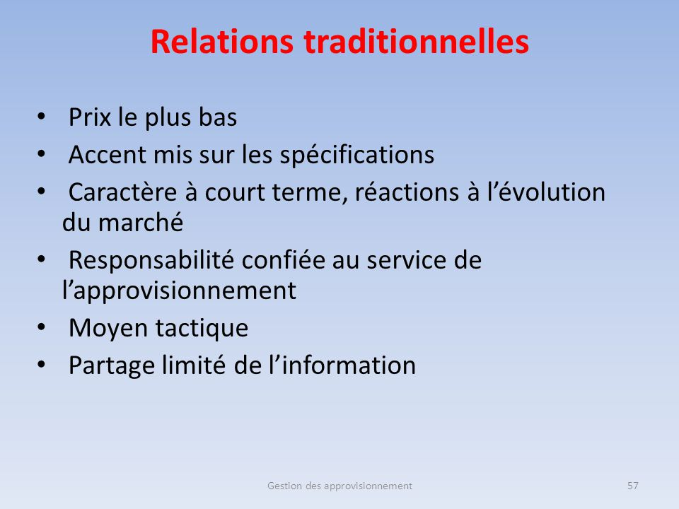 Relations traditionnelles