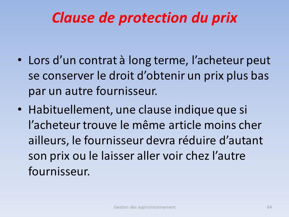 Clause de protection du prix