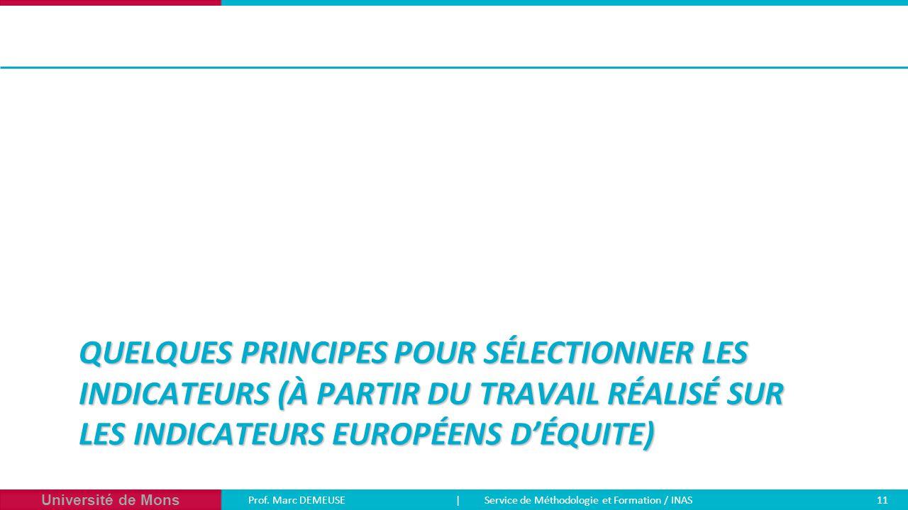 Quelques principes pour sélectionner les indicateurs (à partir du travail réalisé sur les indicateurs européens d'équite)