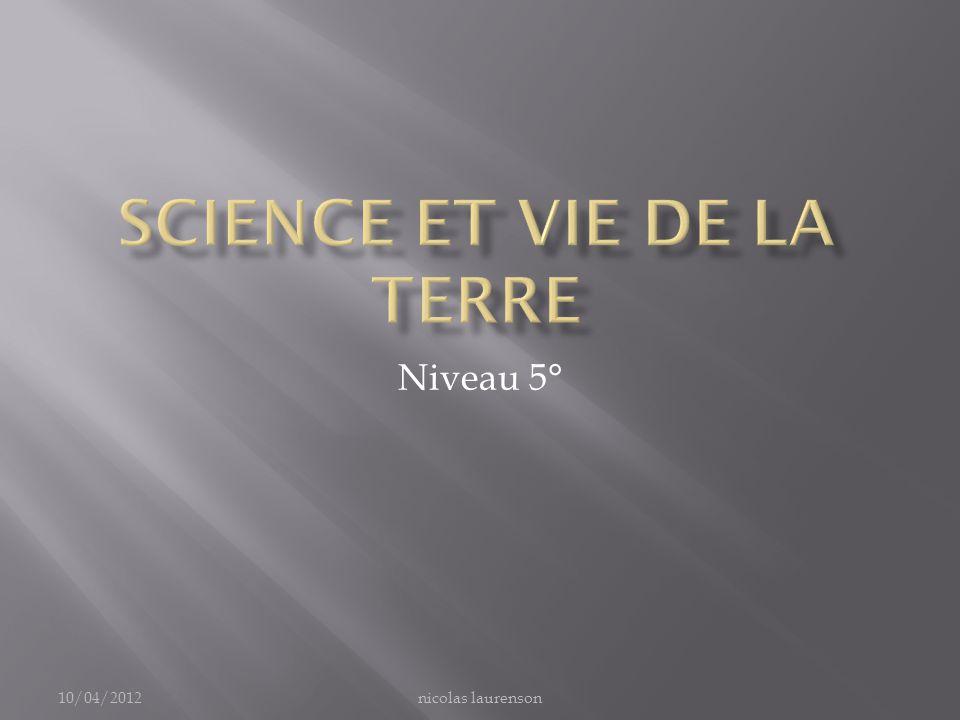 Science et vie de la terre