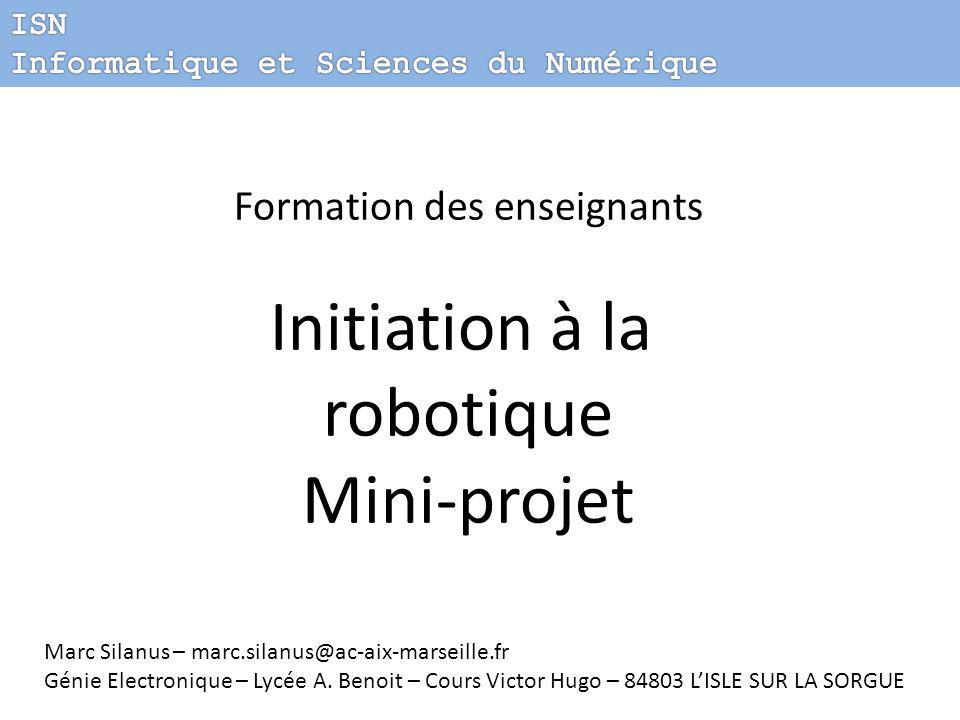 Initiation à la robotique Mini-projet