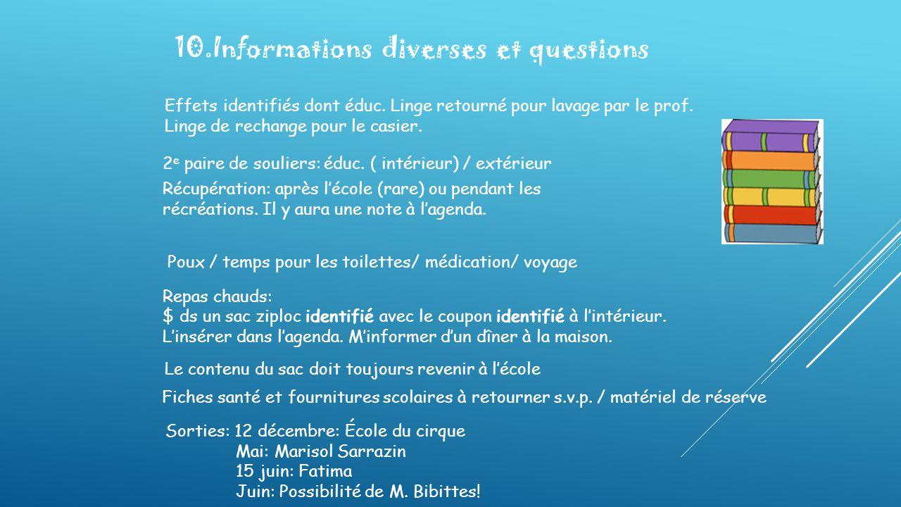 10.Informations diverses et questions