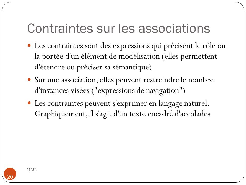 Contraintes sur les associations