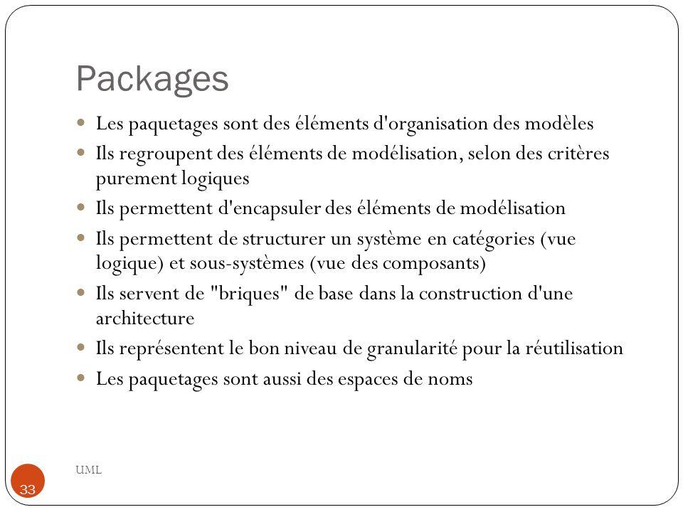 Packages Les paquetages sont des éléments d organisation des modèles