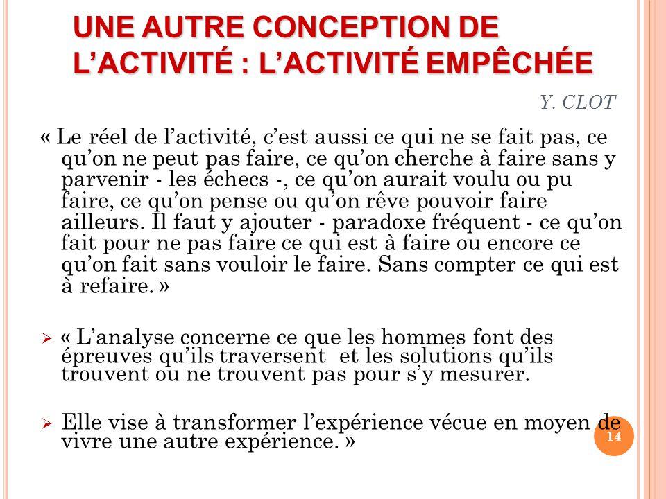 UNE AUTRE CONCEPTION DE L'ACTIVITÉ : L'ACTIVITÉ EMPÊCHÉE Y. CLOT