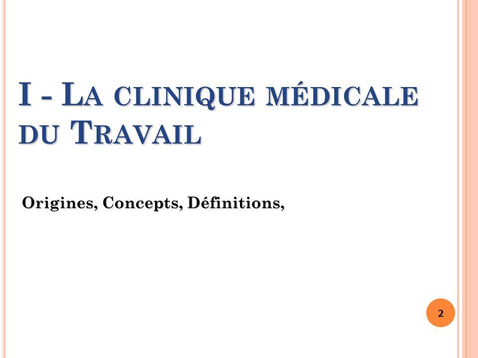I - La clinique médicale du Travail