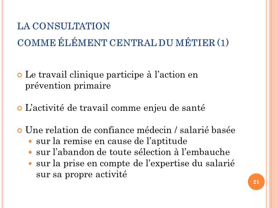 LA CONSULTATION COMME ÉLÉMENT CENTRAL DU MÉTIER (1)