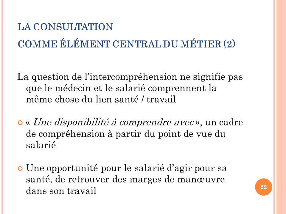 LA CONSULTATION COMME ÉLÉMENT CENTRAL DU MÉTIER (2)
