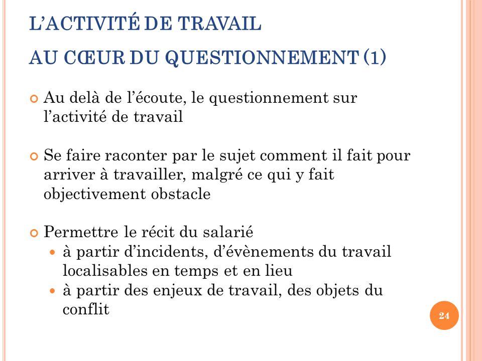 L'ACTIVITÉ DE TRAVAIL AU CŒUR DU QUESTIONNEMENT (1)