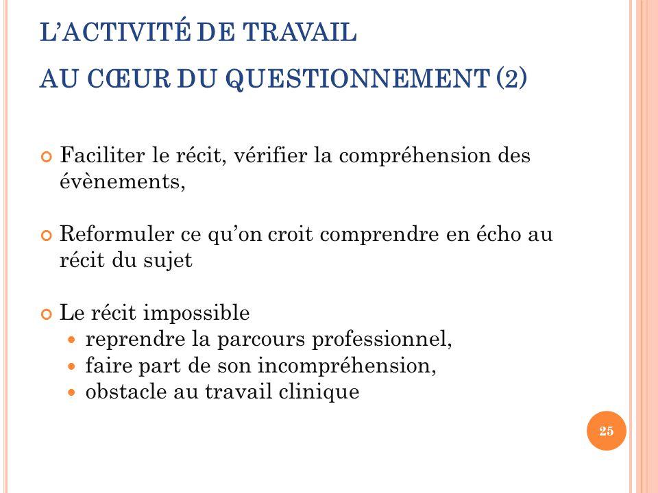 L'ACTIVITÉ DE TRAVAIL AU CŒUR DU QUESTIONNEMENT (2)