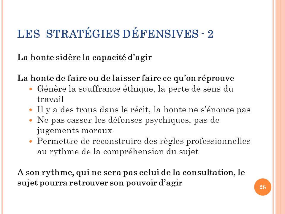 LES STRATÉGIES DÉFENSIVES - 2