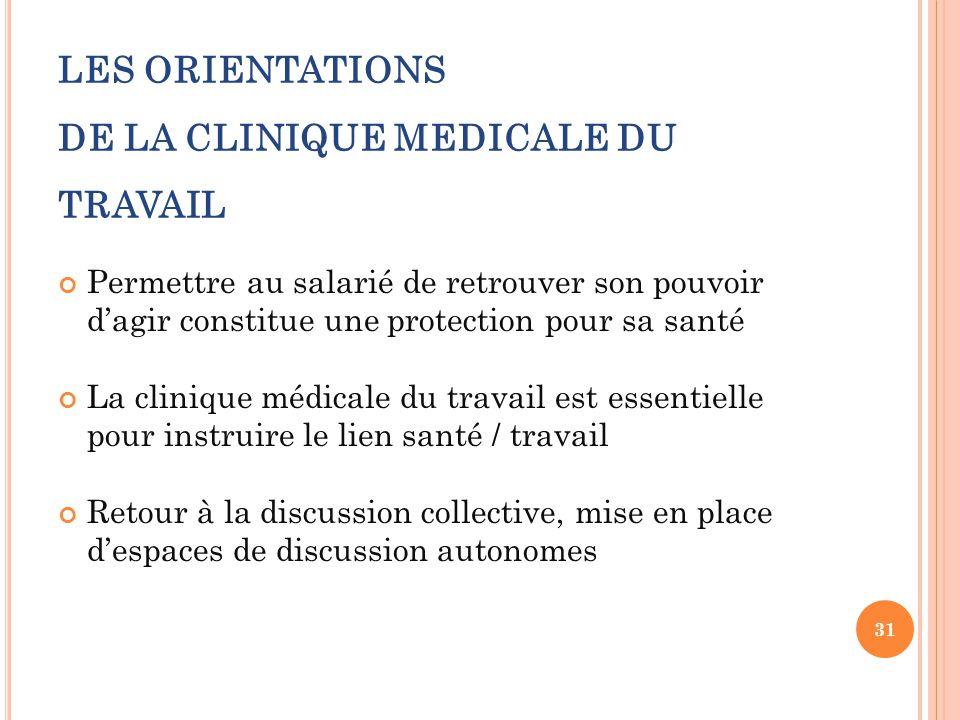LES ORIENTATIONS DE LA CLINIQUE MEDICALE DU TRAVAIL