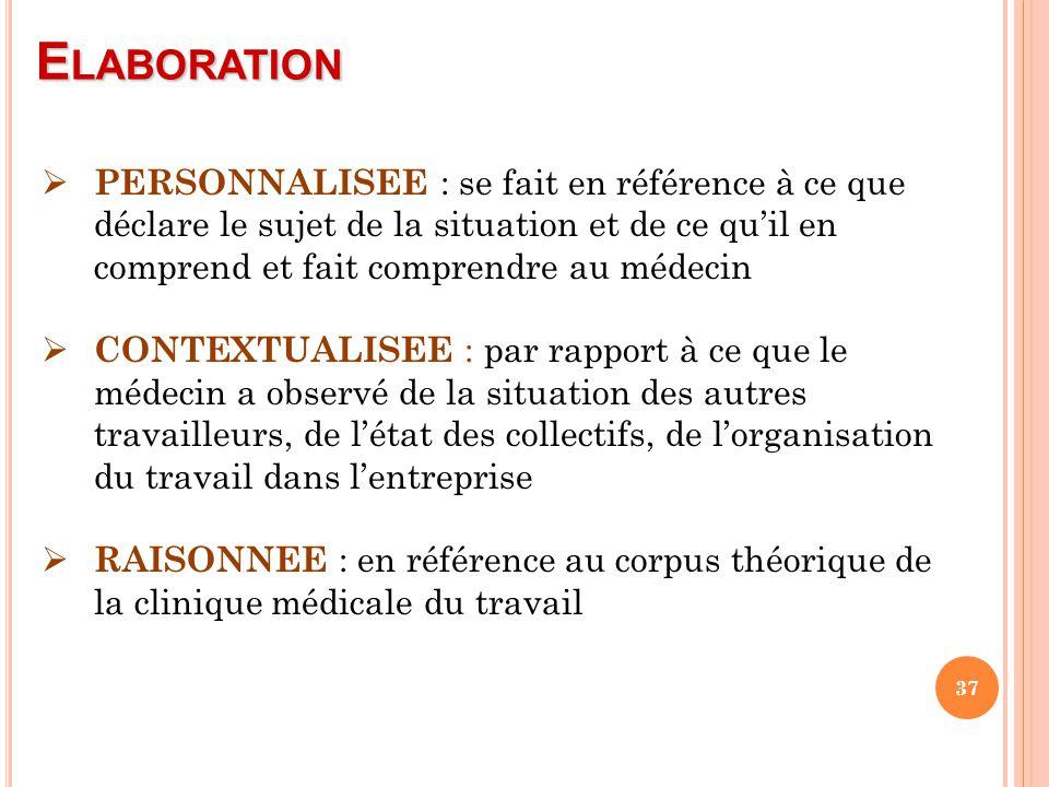 Elaboration PERSONNALISEE : se fait en référence à ce que déclare le sujet de la situation et de ce qu'il en comprend et fait comprendre au médecin.