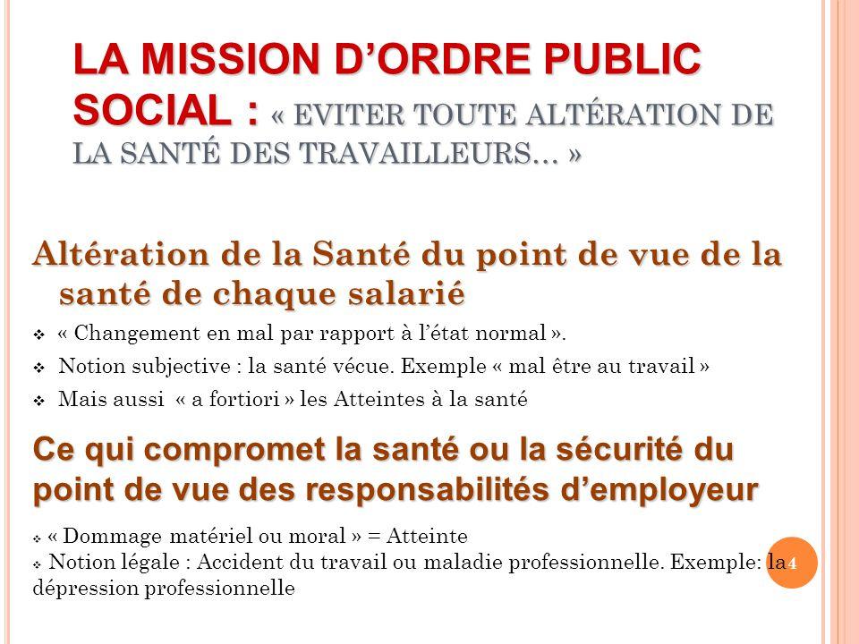 LA MISSION D'ORDRE PUBLIC SOCIAL : « EVITER TOUTE ALTÉRATION DE LA SANTÉ DES TRAVAILLEURS… »