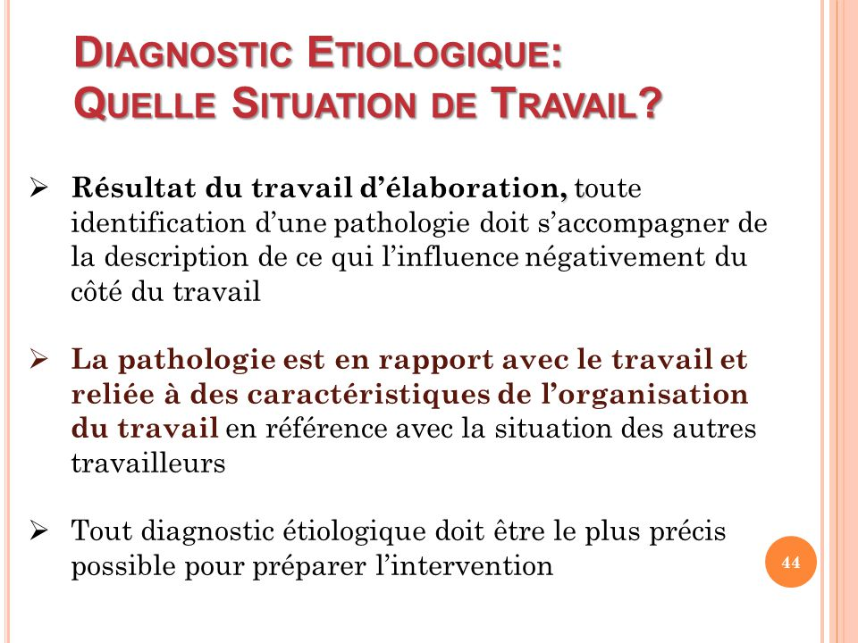 Diagnostic Etiologique: Quelle Situation de Travail