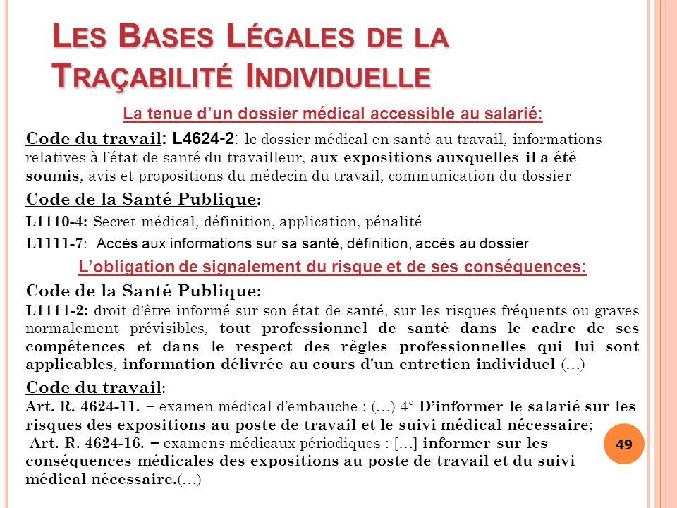 Les Bases Légales de la Traçabilité Individuelle