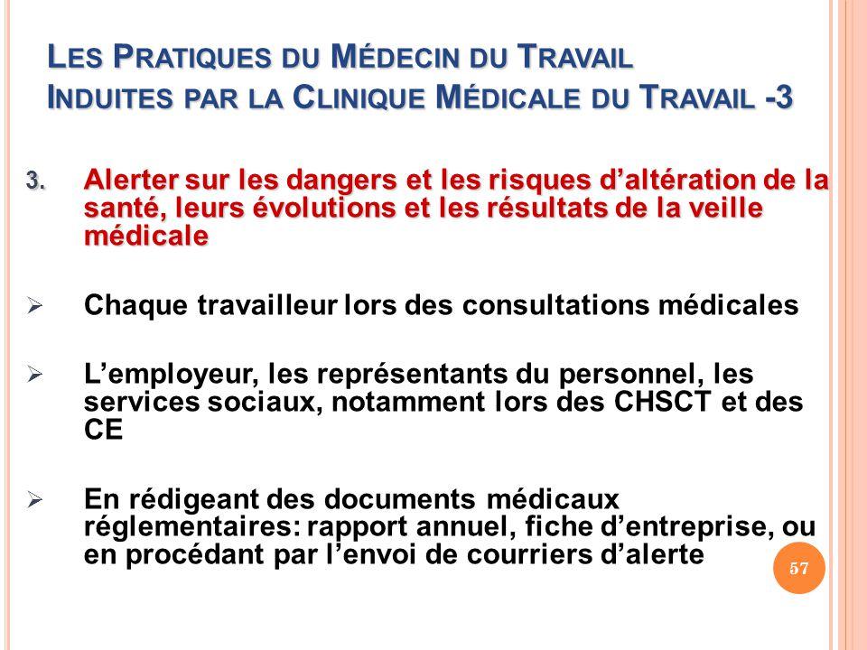 Les Pratiques du Médecin du Travail Induites par la Clinique Médicale du Travail -3