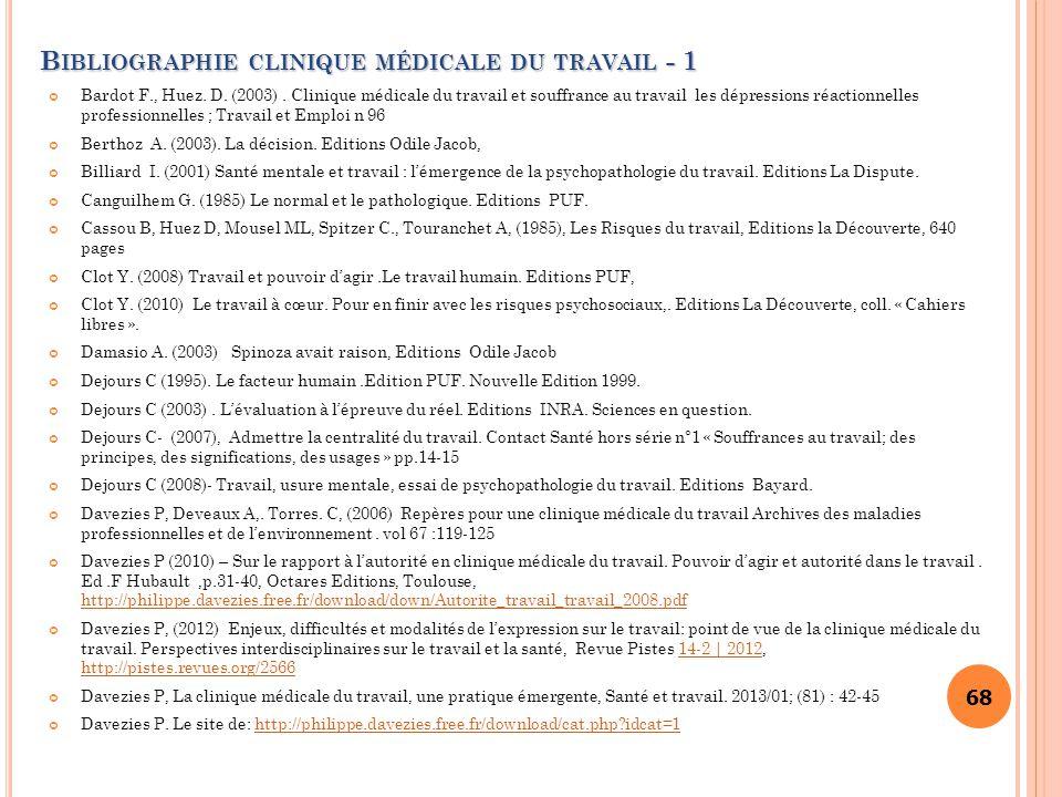 Bibliographie clinique médicale du travail - 1