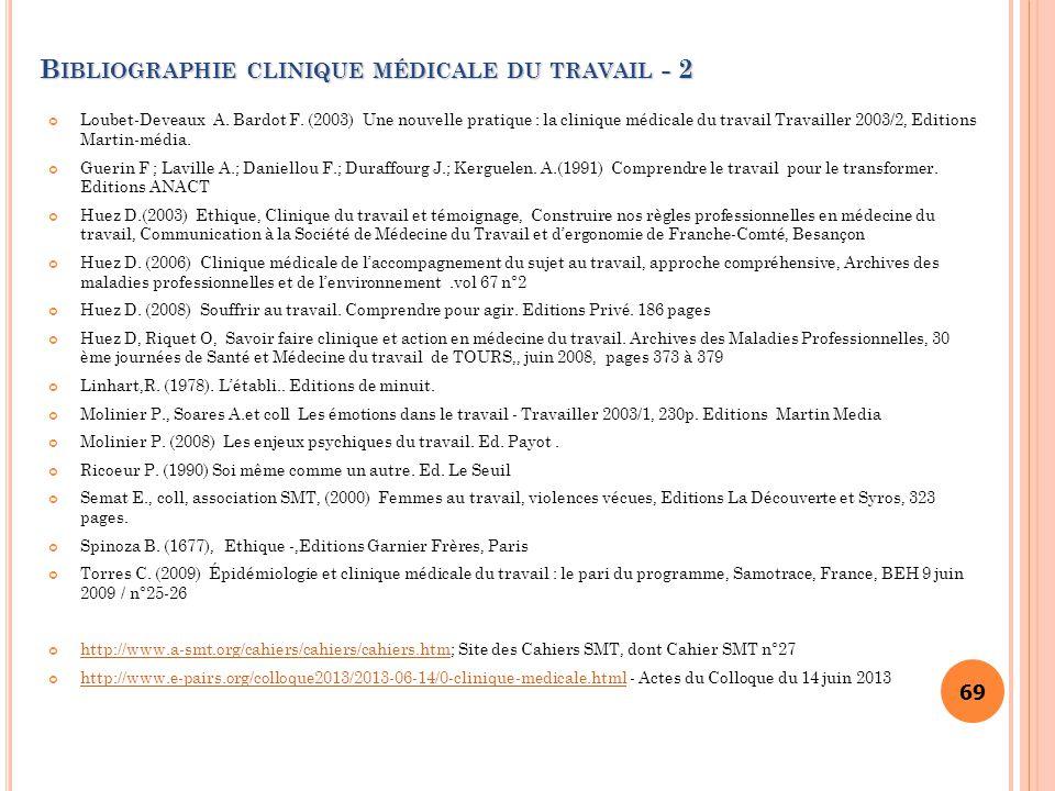 Bibliographie clinique médicale du travail - 2