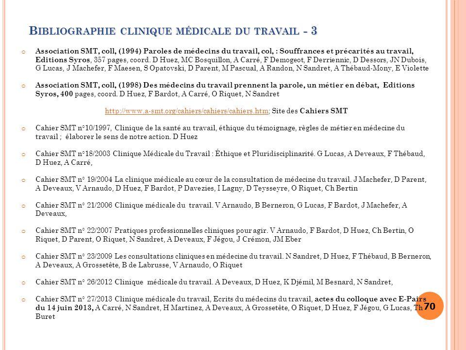 Bibliographie clinique médicale du travail - 3