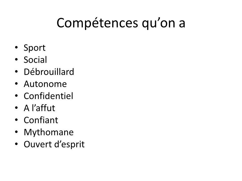 Compétences qu'on a Sport Social Débrouillard Autonome Confidentiel