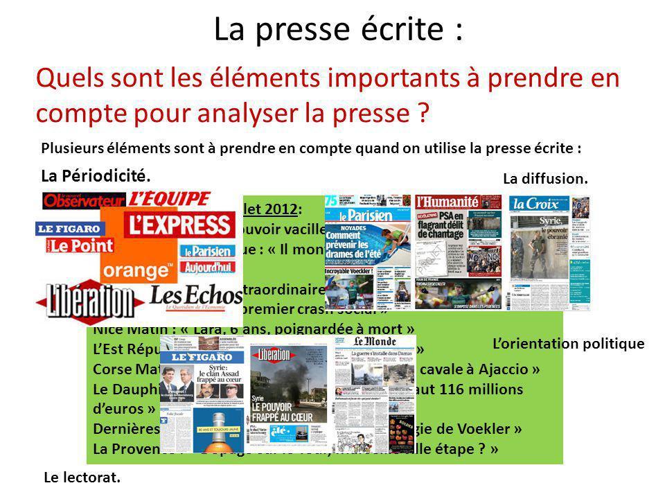 La presse écrite : Quels sont les éléments importants à prendre en compte pour analyser la presse
