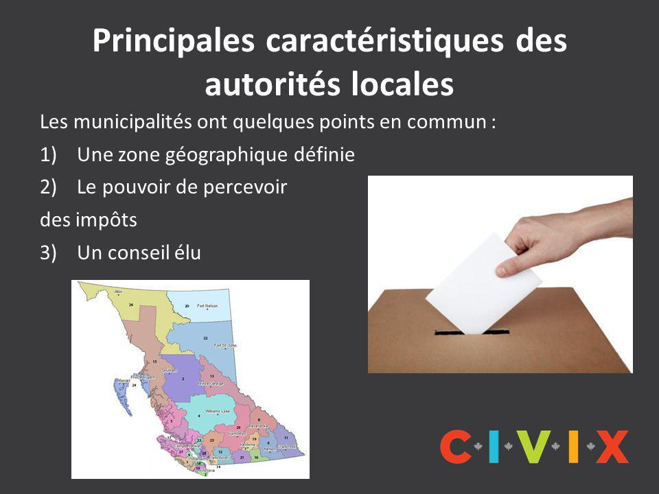 Principales caractéristiques des autorités locales