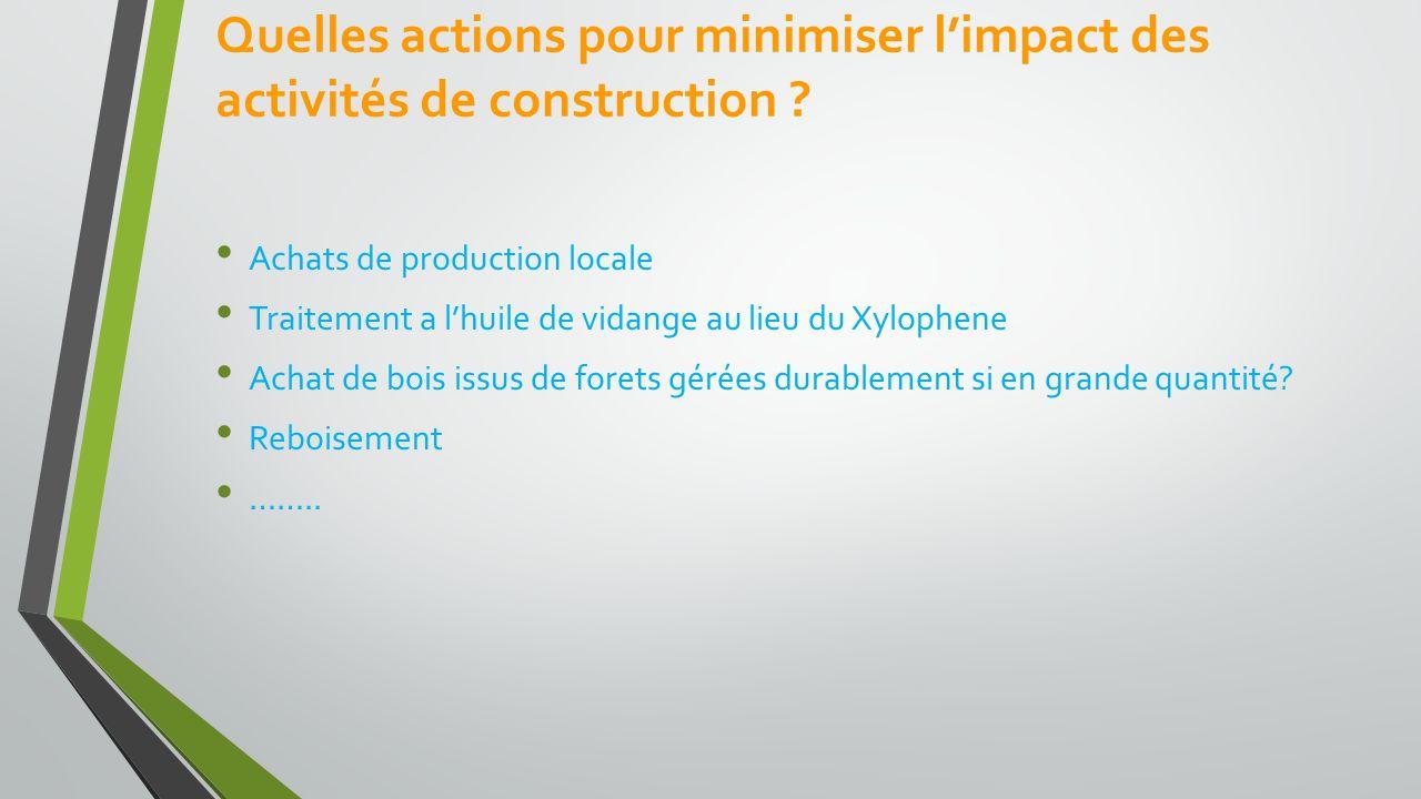 Quelles actions pour minimiser l'impact des activités de construction