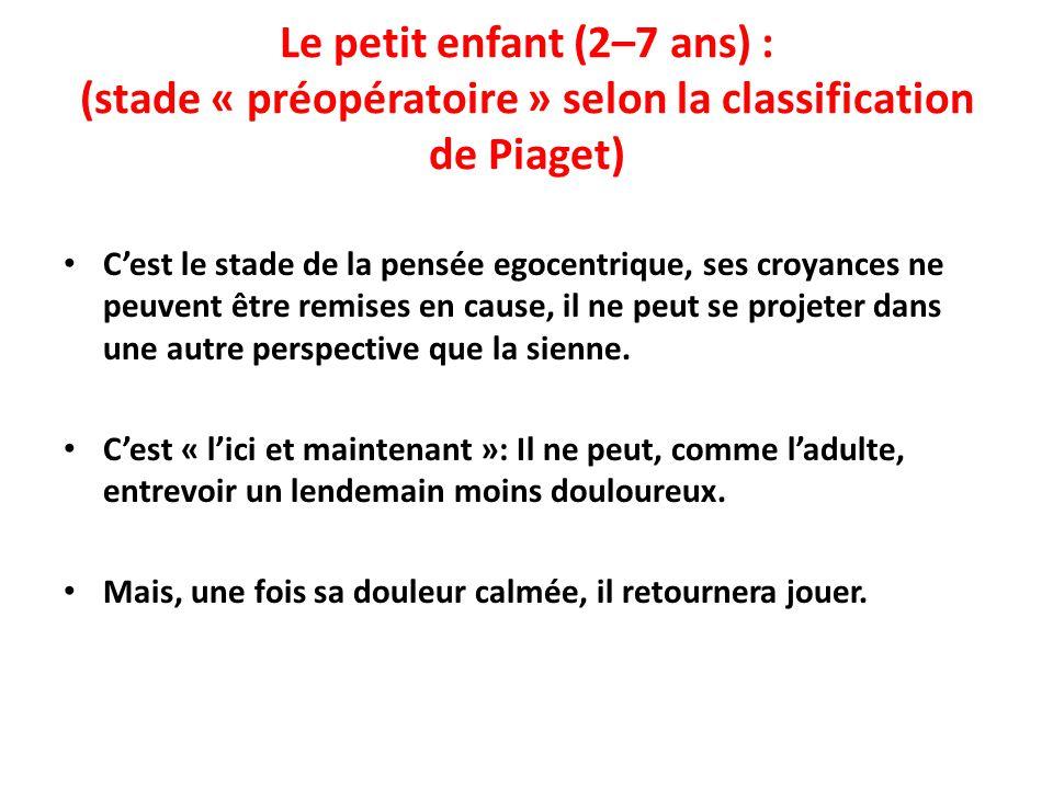 Le petit enfant (2–7 ans) : (stade « préopératoire » selon la classification de Piaget)
