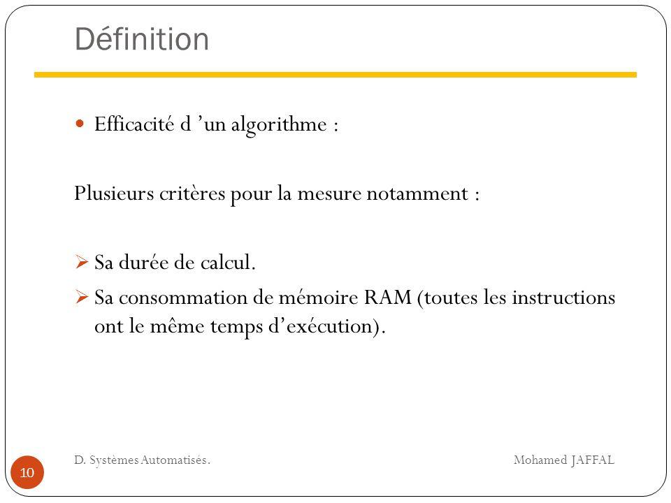 Définition Efficacité d 'un algorithme :
