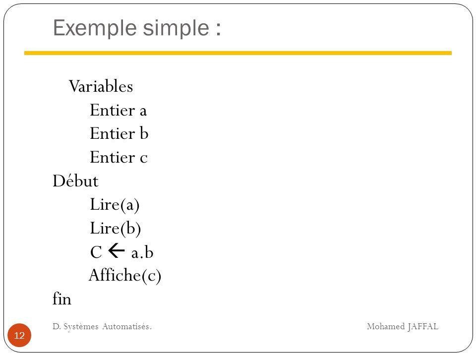 Exemple simple : Variables Entier a Entier b Entier c Début Lire(a) Lire(b) C  a.b Affiche(c) fin