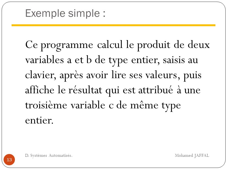 Exemple simple :