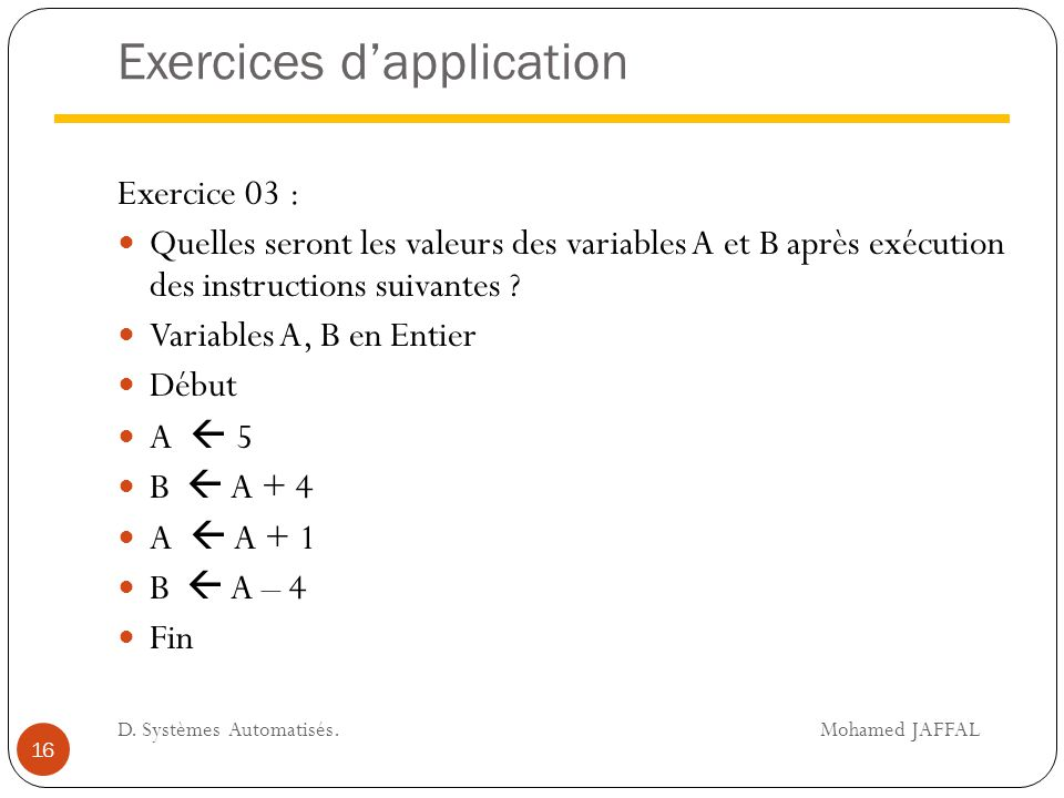 Exercices d'application