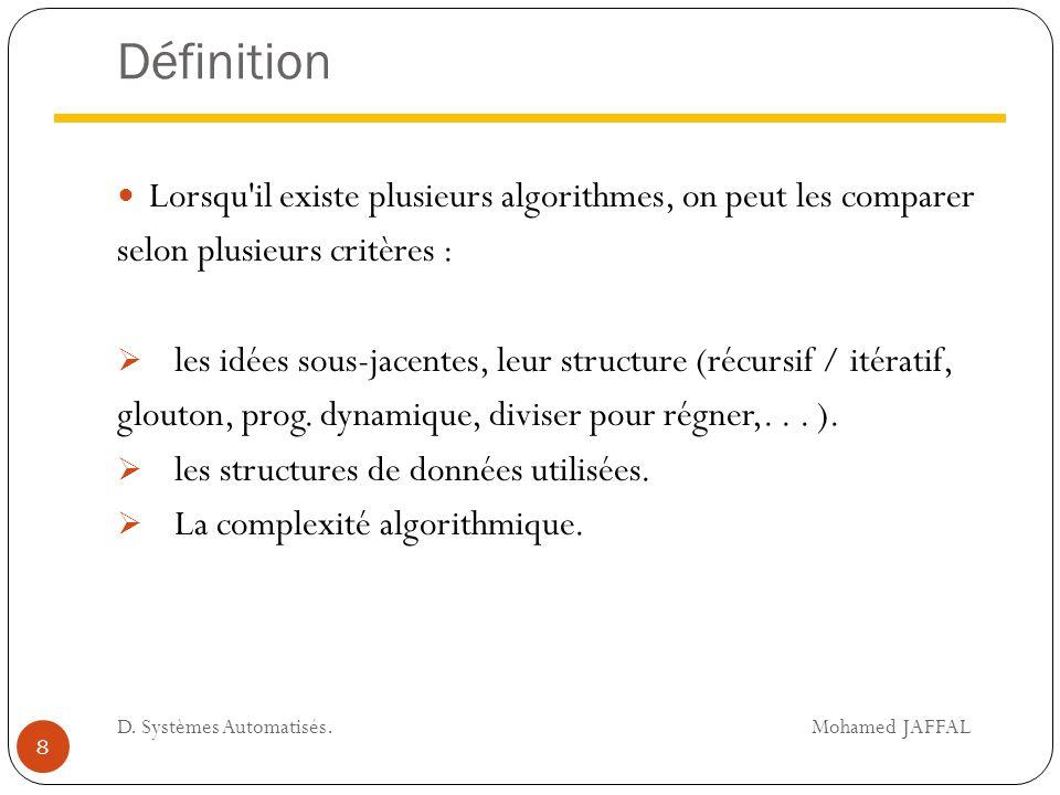 Définition Lorsqu il existe plusieurs algorithmes, on peut les comparer. selon plusieurs critères :