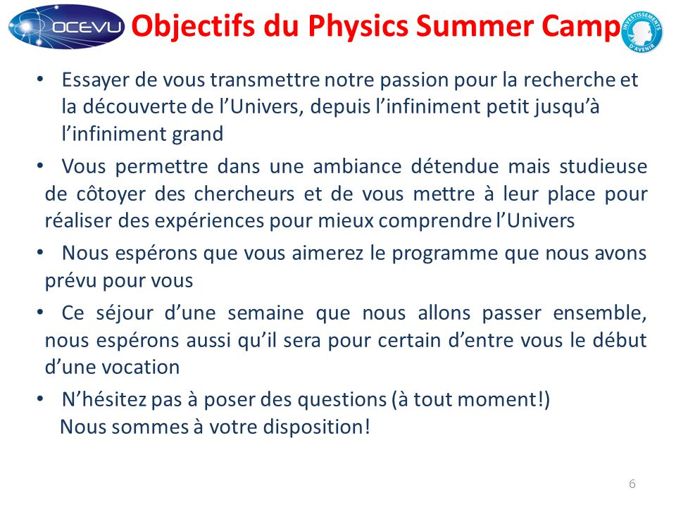 Objectifs du Physics Summer Camp
