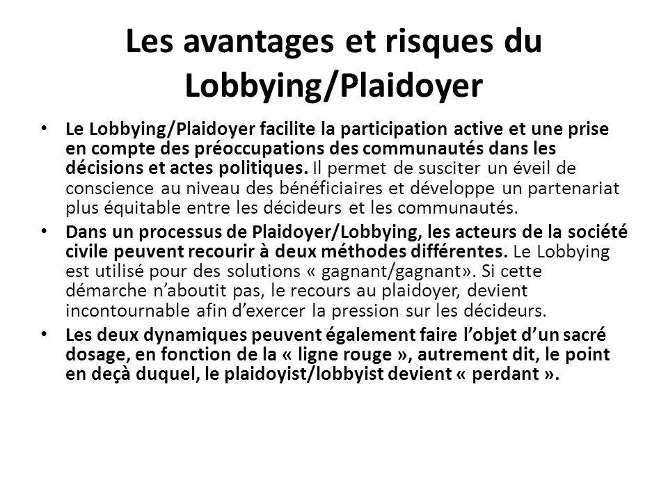 Les avantages et risques du Lobbying/Plaidoyer
