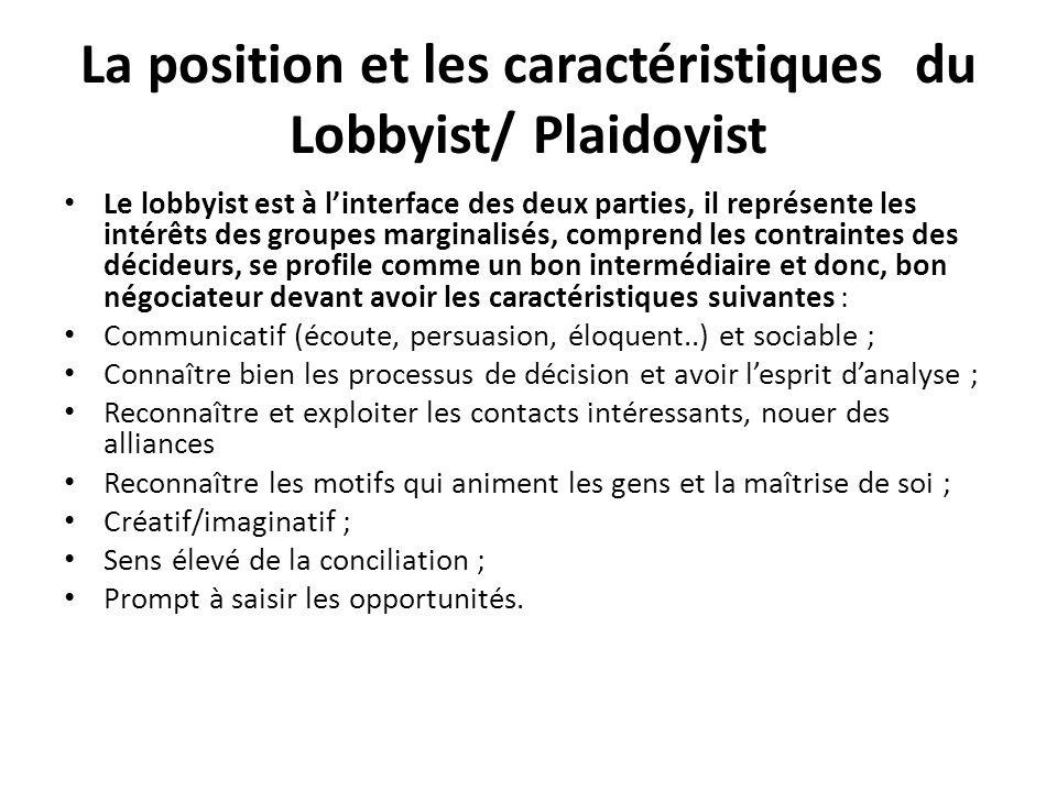La position et les caractéristiques du Lobbyist/ Plaidoyist