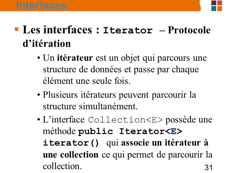 Les interfaces : Iterator – Protocole d'itération