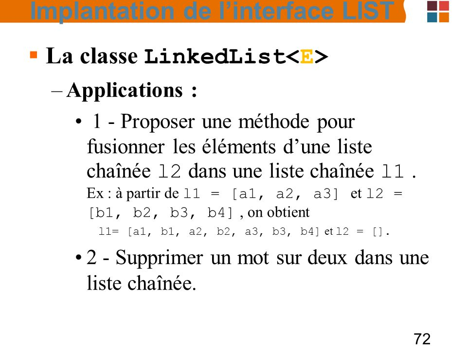La classe LinkedList<E>