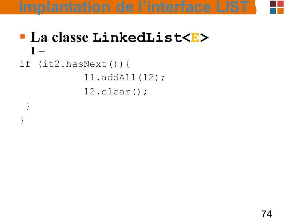 La classe LinkedList<E> 1 –