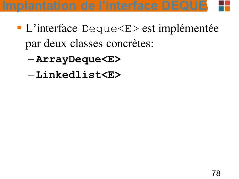 L'interface Deque<E> est implémentée par deux classes concrètes: