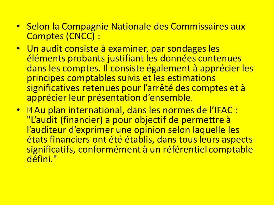 Selon la Compagnie Nationale des Commissaires aux Comptes (CNCC) :