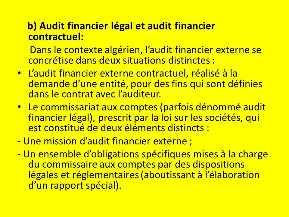 b) Audit financier légal et audit financier contractuel:
