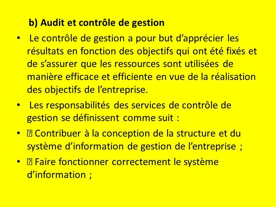 b) Audit et contrôle de gestion